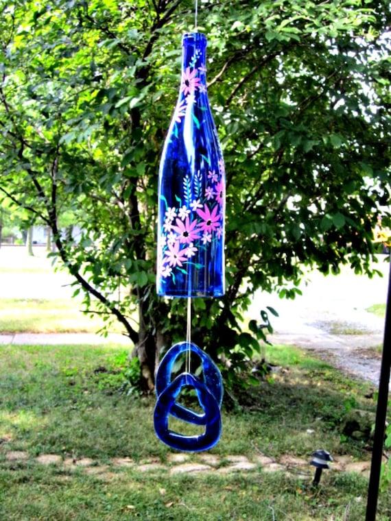 Wind Chime Blue Wine Bottle Garden Bell Style Painted Garden Flowers