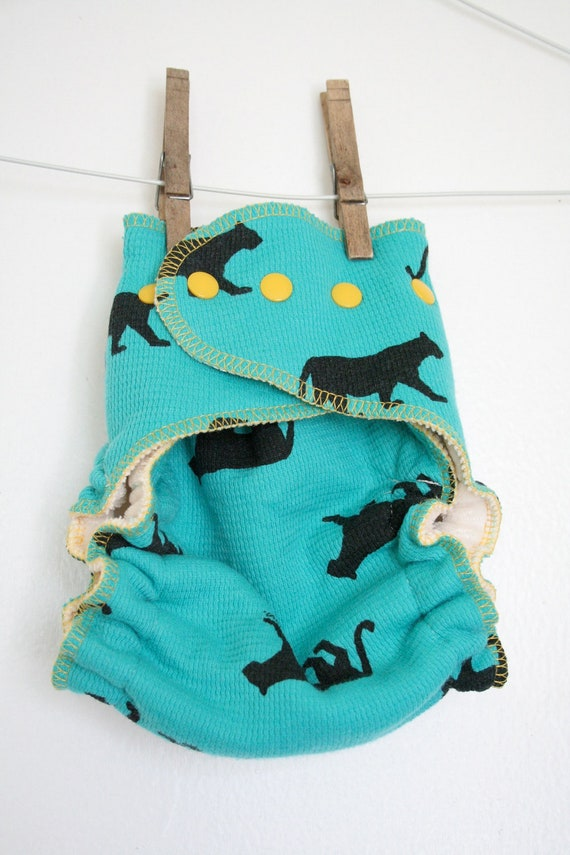 black, teal and yellow organic cloth diaper - OS fitted diaper with snaps - panthers - gender neutral