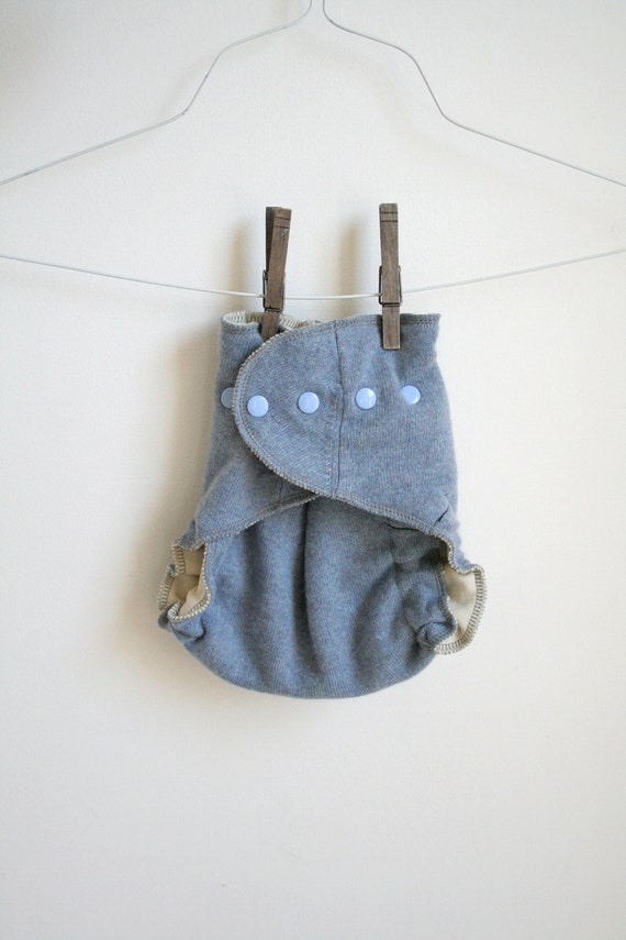 sky blue wool cover - Nifty Nappy Woolie Wrap - one size - two layers - snaps - organic and upcycled