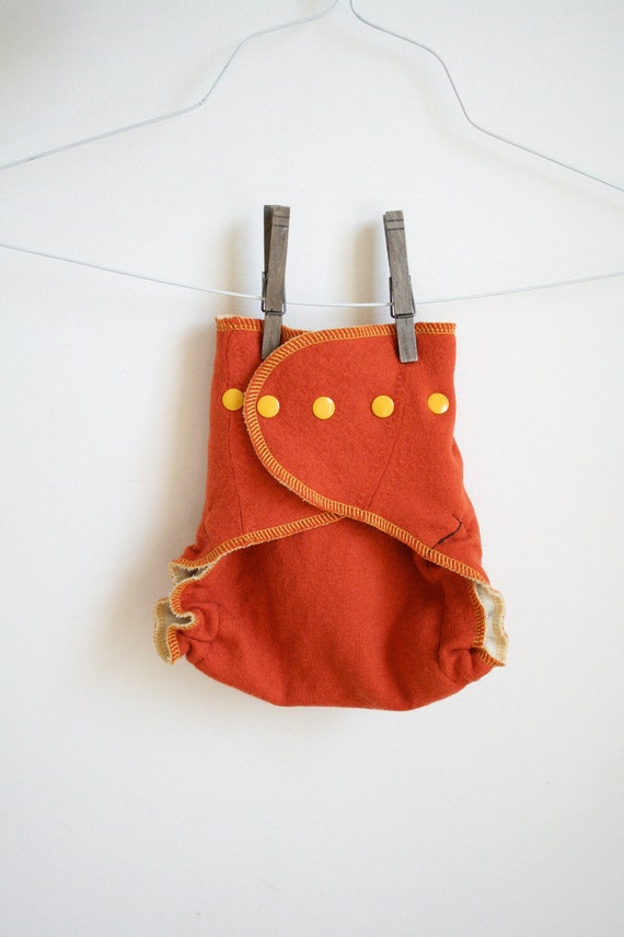 pumpkin guts - wool diaper cover - one size - organic and recycled wool - orange and yellow