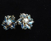 Vintage Aurora Blue Clip on Earrings
