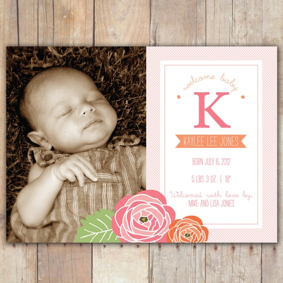 Floral Monogram - Custom Photo Baby Birth Announcement