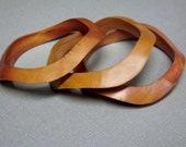 Vintage Wood Bangle Bracelets Bracelet Geometric Carved