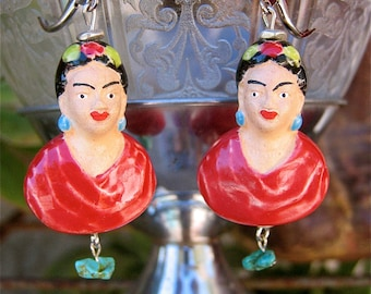 FRIDA KAHLO Ceramic bead earrings with Turquoise drops-   Perfect for your loved one this holiday season