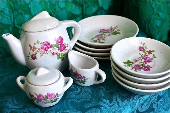 Vintage Child's Tea Set Play Dishes - Miniature Roses China