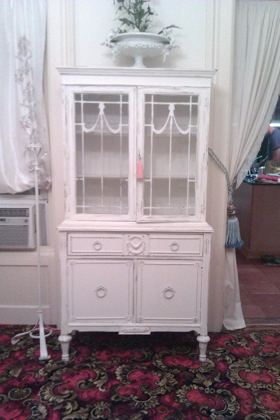 Shabby Antique China Cabinet Chic Cintage Cottage White