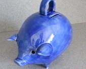 Piggy bank Vintage Ceramic Piggy Bank Aegean blue  pig.... Ready to Ship