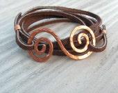 Leather Wrap Bracelet, Brown Suede, Hammered Copper Bracelet