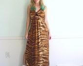 Easy Tiger Vintage 80s Sleeveless Animal Printed Maxi Slip Dress XS/S