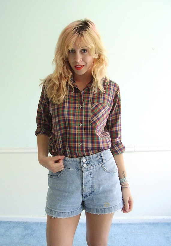 That 70's Plaid Shirt - Vintage - S M - Western Multicolor - Button Down Blouse