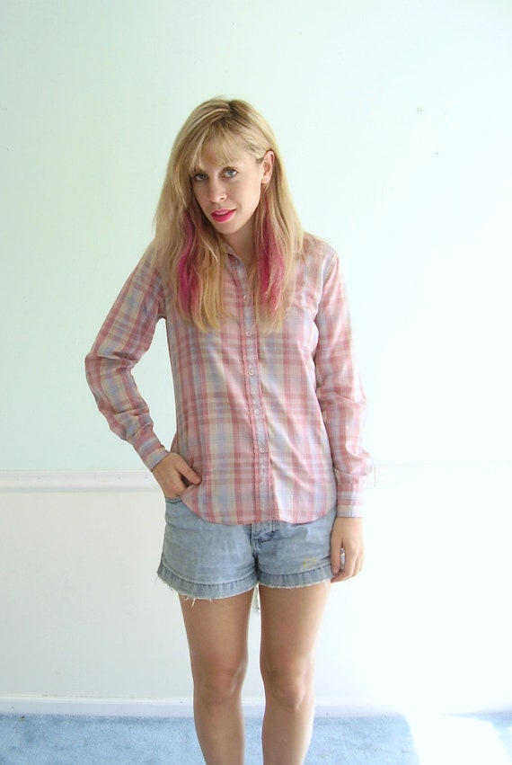 Pink Autumn Plaid Button Down Shirt- Vintage 80s - SMALL S - Cowgirl Western