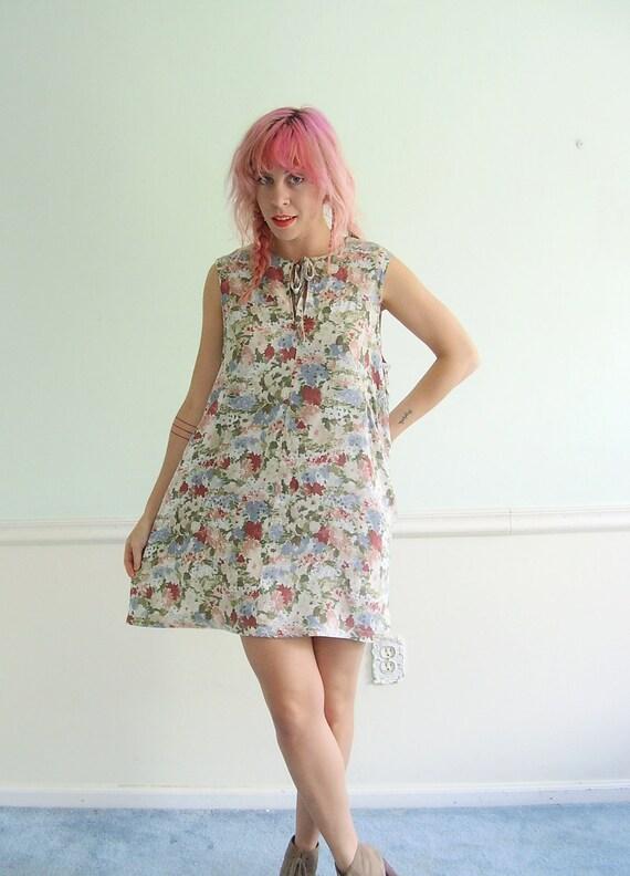 60s Floral Printed Mini Shift Dress MEDIUM LARGE M L Sleeveless Summer Day