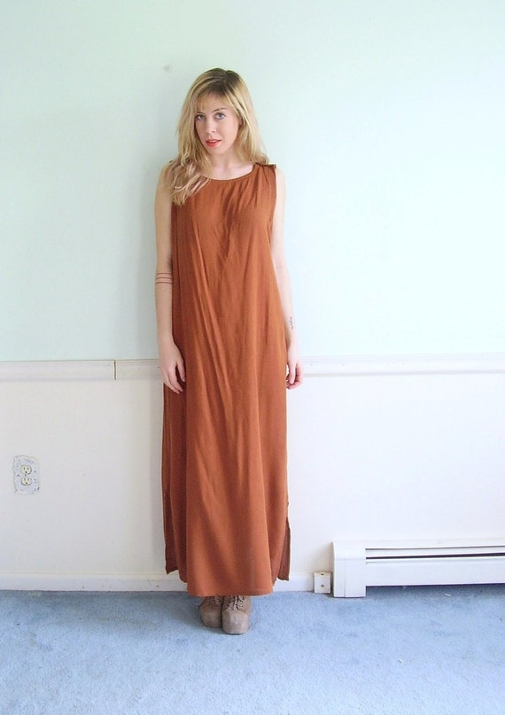 Gold Dust Woman Vintage Early 90s Slouch Sleeveless Maxi Shift Dress MEDIUM M L
