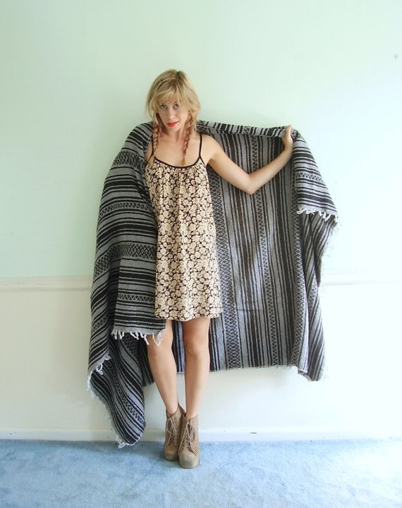 Grey and Black Southwestern Mexican Boho Blanket Woven Tribal - Vintage