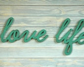 LOVE LIFE -Handmade Vintage Style Wood Sign Set for Home Decor Gift Wall Hanging