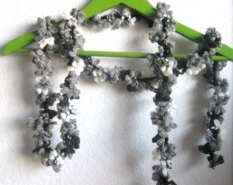 Hand crochet skinny scarf, variegated black/grey/white, fabulous,  for her,  accessory, new soft, ready to ship