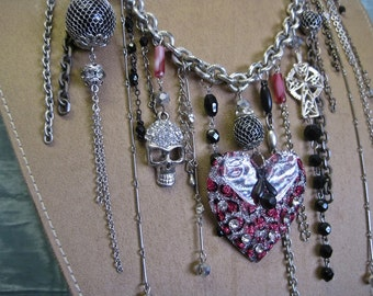 WILD at HEART: Skull and Cross Statement Vintage Assemblage Necklace Punk Rocker Goth Edgy Heart Hot Pink Black Leopard One of a Kind ooak