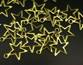 Brass  Star Charm, 50 Raw Brass  Star Charms (14x12mm)  Brs 299 A0298