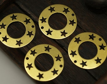 25 Raw Brass Star Pentagram Connectors 2 Holes  (20 Mm) Brs 152 ( A0195 )