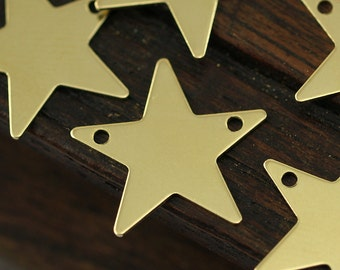 Star Bracelet Finding, 100 Raw Brass Star Blanks, Star Tags with 2 Holes, Necklace Pendants (15mm) A0296