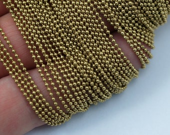 5 Meters - 16.5 Feet 1.2 Mm Raw Brass Ball Chain ( Z018 )