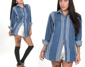 70's Denim Western Shirt M/L Striped Oversized Boyfriend Button Down Blouse