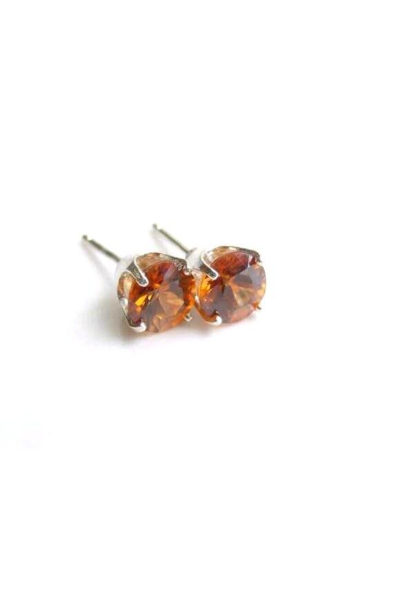 Orange Zircon Stud Earrings Sterling Silver