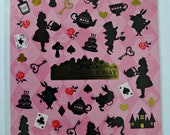 Cute Japanese Alice In Wonderland Themed Fairytale Stickers - Mushrooms, Roses, Crowns, Cards, Cats, Clocks, Cakes, Teapots, Keys, Rabbits