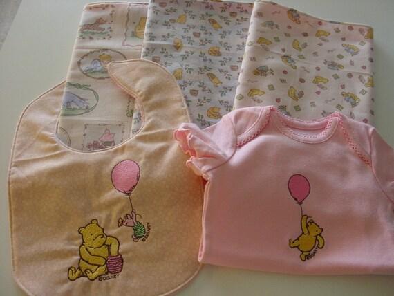 Handmade Classic Pooh burp cloths, bib and onesie for baby girl