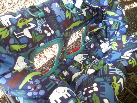 Designer Shopping Cart Cover grocery cart cover 2D Zoo NAVY zoology urban zoo blue