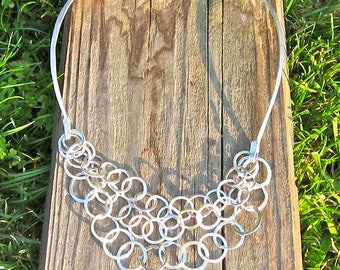 Hammered Sterling Choker, Hammered Sterling Neck Ring, Multi-Strand Neck Ring
