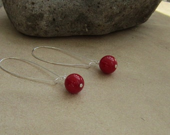 Red Earrings, Long Red Earrings, Kidney Wires, Red Dangles, Gifts for Her, Cherry Bomb
