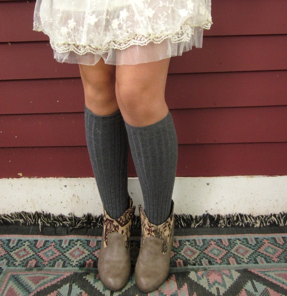 Gray Pebbles Rib Knit Recycled Sweater Leg Warmers By MountainGirlClothing