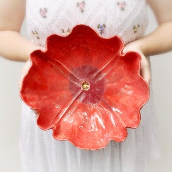 "Red Poppy  Bowl large ceramic serving bowl 10 1/2"" D"