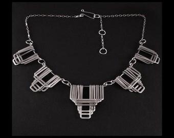 Aztec Aluminum Necklace - handmade - Aztec jewelry design - Tribal - Creative Bridal Jewelry- handmade in Austin, Tx