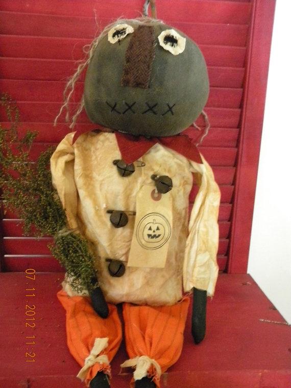 Primitive Halloween Pumpkin Doll REDUCED OOAK OFG Team Falls Splendor FTTeam