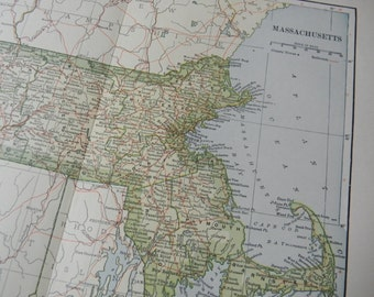 1903 State Map Massachusetts - Vintage Antique Map Great for Framing 100 Years Old