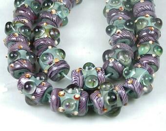 Lampwork Handmade Glass Purple Lace Cylinder Beads 17x12mm (L688)