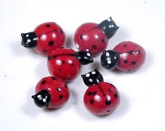 Lampwork Handmade Glass Ladybug Beads 18x15mm (L353)