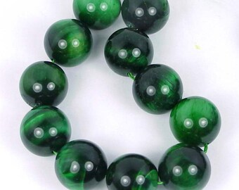 "AAA Green Tiger Eye Round Spheres Beads 8"" 18mm (e6168)"