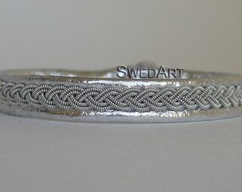 SwedArt B12 Sami Leather Bracelet-Pewter Braid-Antler Button-Antique Silver XX-SMALL
