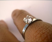 Herkimer Diamond Solitaire Ring - Sterling Silver