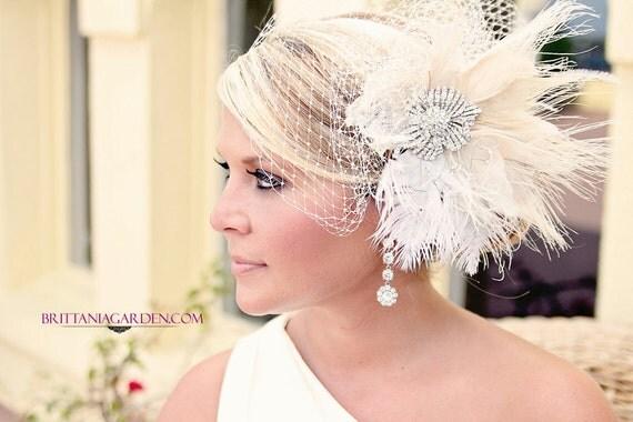 Wedding Veil, Bridal Veil and Feather Fascinator  --  Scarlett's Veil Variation