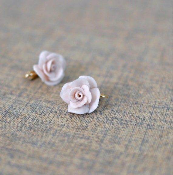 1950s earrings / vintage flower earrings / 50s jewelry / Petal Stone Rose