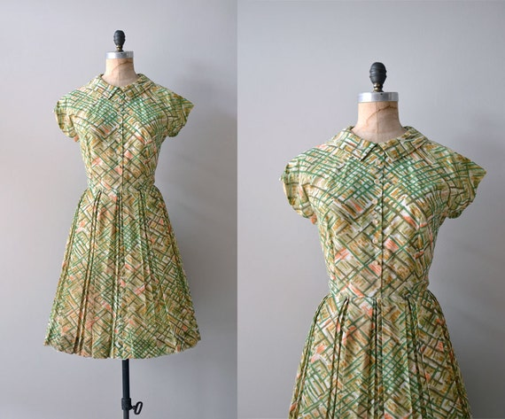 1960s dress / vintage 60s dress / Thatched Grass dress