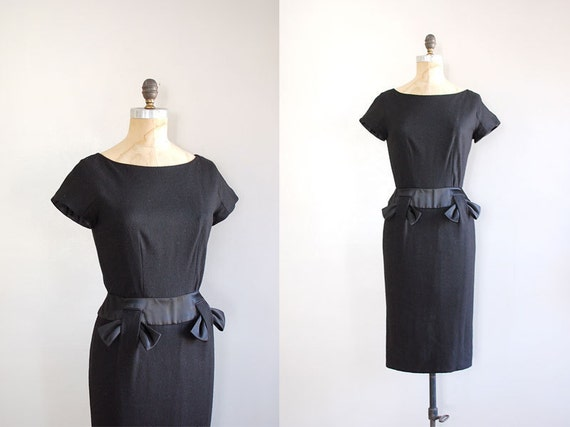 vintage 1950s dress / 50s wool dress / Double Shadow dress