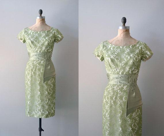 vintage 1950s dress / lace 50s dress / Peridot lace dress