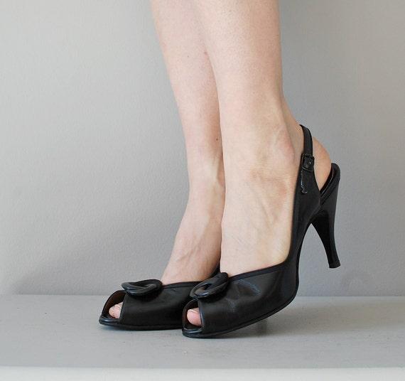 1950s shoes / 50s peeptoe high heels / D'Antonio heels