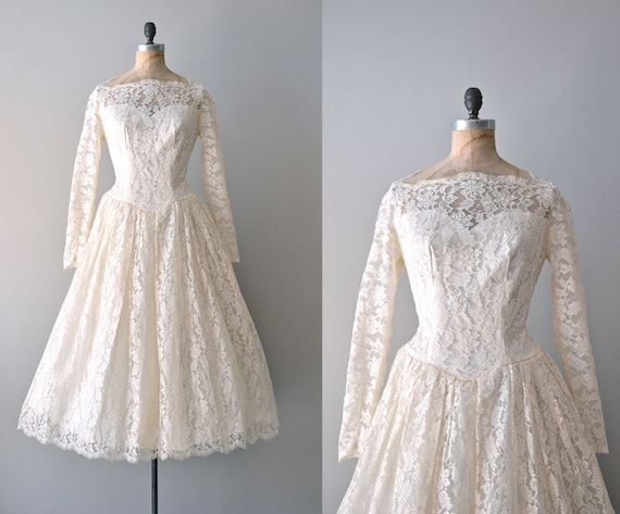 r e s e r v e d...50s lace wedding dress / 1950s wedding dress / Water Lily dress