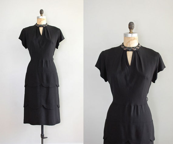 1940s dress / rayon 40s dress / Set the Stage